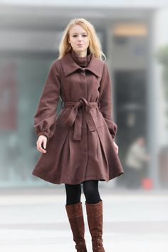 Exquisite Coffee Cashmere Coat Double Collars  Dress Style Wool Coat Winter Jacket for Women - NC239 #EasyNip