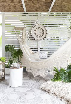 Beautiful Bohemian Hammock with lace design. Create your dream space where you can unwind and relax in a stylish setting indoors or out. Outdoor Rooms, Outdoor Living, Outdoor Decor, Teen Bedroom Designs, Patio Interior, Backyard Patio, Bohemian Decor, Garden Design, Inspiration