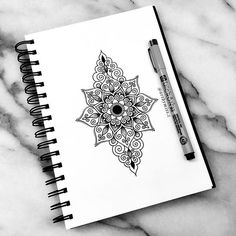 Black Mandala Zentangle Doodle with a Marker
