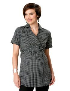 Short Sleeve Knot Front Maternity Blouse