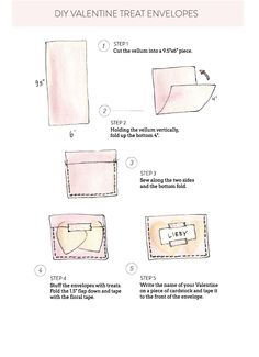 Step by step for the sweetest little valentine's day card ever.     http://www.stylemepretty.com/2013/02/03/smp-at-home-diy-valentine-treat-envelopes/