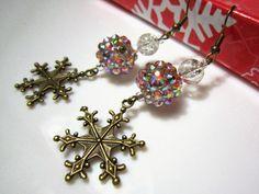 Multi-Colour Rhinestone Bead Christmas Earrings