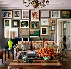 Hollywood's Kristen Buckingham's living room - yes, the wife of Lindsey who is internationally famous for being in the band Fleetwood Mac - as shown in Elle Décor, March 2009. I love that Kristen's funky, bohemian twist-on-traditional style feels layered…  like favorite things collected over time and assembled in a delightfully whimsical, effortless and completely unexpected way.