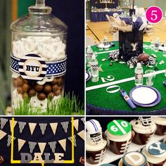 My football party-- Banner Events.    As seen on Pizzazzerie, HWTM, Kara's Party Ideas & Celebrations At Home.