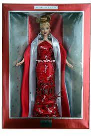"""Résultat de recherche d'images pour """"barbie 2000"""" Barbie 2000, Barbie Dolls, Collector Dolls, The Collector, Silver Ornaments, Halter Gown, Buy Shop, Red Satin, Jewelry Making"""