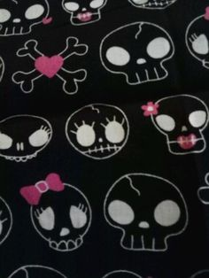 Fun Bones Hot Pink~Black Fabric Fat Quarter Single