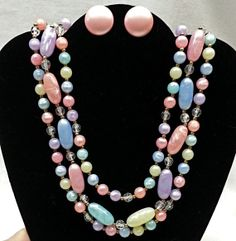 Pretty Vintage Pastel Necklace w/Matching by Shopperswelcome, $19.99