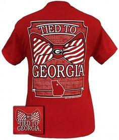 New Georgia Bulldogs Tied To Georgia Big Prep Bow Girlie Bright T Shirt from Simply Cute Tees. Georgia Bulldogs T Shirts, Georgia Shirt, Georgia Bulldogs Football, Simply Cute Tees, Simply Southern T Shirts, Southern Clothing, Georgia Girls, University Of Georgia