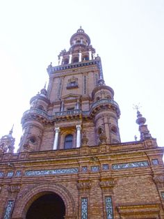 One of the twin towers of Plaza de España in Seville, Spain