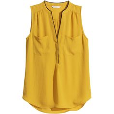 H&M Sleeveless blouse (£15) ❤ liked on Polyvore featuring tops, blouses, shirts, h&m, mustard yellow, brown shirts, v-neck shirts, polyester shirt, brown blouse and h&m blouses