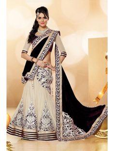 Bollywood Designer Black And Cream Lehenga Choli
