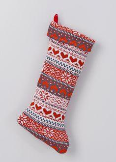 Knitted Fairisle Christmas Stocking (48cm) - Matalan