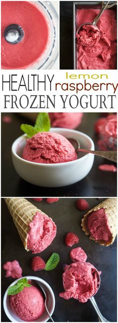 5 Minute Lemon Raspberry Frozen Yogurt using only 4 ingredients - it's healthy, sweet, delicious and meant to be in your tummy! | joyfulhealthyeats.com #glutenfree