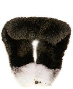 MARNI Khaki Bicolour Fox Fur Wrap - Lyst