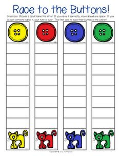 73 Cool Pete the Cat Freebies and Teaching Resources :: KindergartenWorks - Letter or Sound Fluency Game, I'd use this as a roll & count math game, collecting a button at the top and starting over again (a TERC version) Preschool Literacy, Preschool Books, Teaching Kindergarten, Preschool Activities, Teaching Resources, Montessori Elementary, Sequencing Activities, Elementary Education, Art Education
