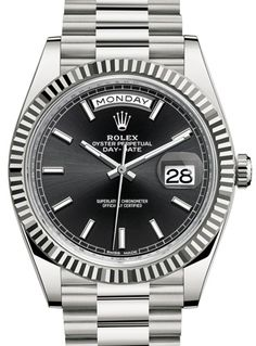 228239 black dial Rolex Day-Date 40mm White Gold