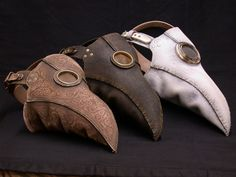 three plague doctor mask designs by Geahk Burchill.  Really creepy!  http://geahkburchill.carbonmade.com/  http://www.flickr.com/photos/26046998@N02/
