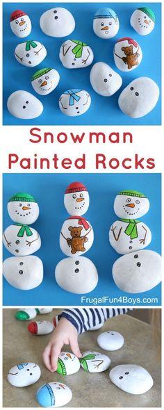 Snowman Painted Rocks - Build snowmen with mix and match painted rocks. #winter #kidsactivities #paintedrocks by lesa