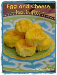 Egg and cheese mini muffins! Perfect for toddlers. Make a big batch, freeze, and pop a couple in the microwave for a quick breakfast.