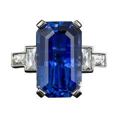 8.77 Carat Emerald-Cut Sapphire Diamond Platinum Ring | From a unique collection of vintage solitaire rings at https://www.1stdibs.com/jewelry/rings/solitaire-rings/