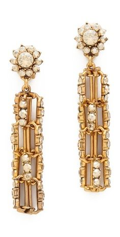 Oscar de la Renta Crystal Link Drop Clip On Earrings | SHOPBOP
