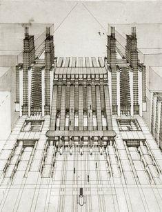 """Antonio Sant'Elia, arhitect de profesie, recunoscut prin miscarea futurista la care a luat parte intre 1912 si 1914, face o serie de schite """"Citta Nouva"""" in care ilustratreaza o…"""