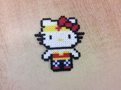 Wonder Woman Hello Kitty perler beads by Amanda Collison