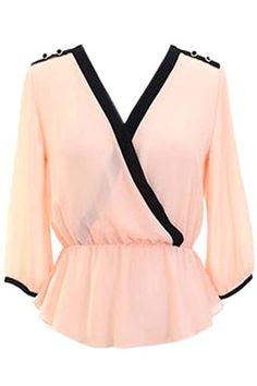 Light Pink Semi Sheer Long Sleeve Crepe Chiffon Blouse Top With Black Trim