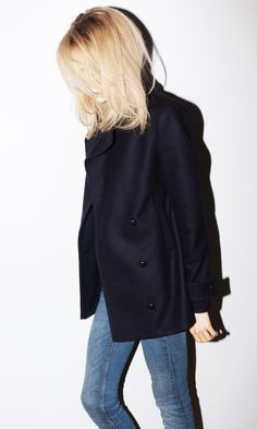 Pea coat + jeans. Foolproof cold weather wardrobe staples.