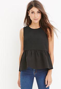 black peplum sleeveless top with jeans