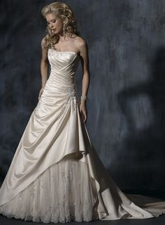 A-line Sleeveless Floor-length bridal gown...I love this, but in white