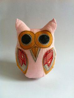 Large Linen Owl - Pink $29