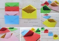 μινι φακελοι με γκλιτερ , δωρεάν πατρόν και οδηγιες- diy mini envelopes, free template