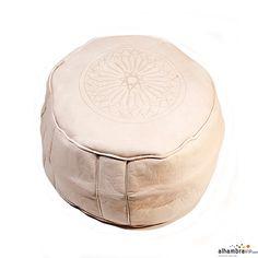 Puff de piel marroquí blanco liso, grabado a mano