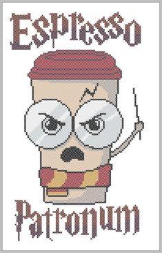 Espresso Patronum Harry Potter Logo original pattern Coffee Espresso … – Famous Last Words Cross Stitching, Cross Stitch Embroidery, Embroidery Patterns, Crochet Patterns, Hand Embroidery, Cross Stitch Designs, Cross Stitch Patterns, Paw Patrol Badge, Harry Potter Cross Stitch Pattern