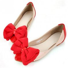 Faux Leather Top Bow Decor Pretty Flats