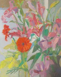 Laura Grosso 2015 oil on canvas 40x50 cm. Mimosa, gerbera e lilium.