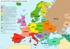 The interesting origins of the word 'money' in various European languages.