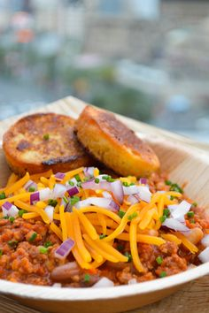 Warm the body and soul with beef chili served with corn bread and aged cheddar at The Ice Rink, overlooking the Las Vegas Strip.  This sounds about right...