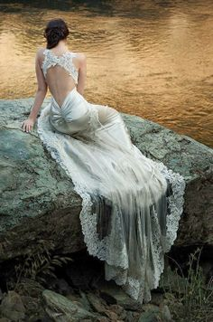 Gorgeous silky lace wedding gown