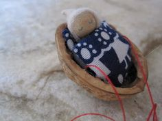 walnut baby ornament