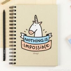 """Caderno colorido """"Nothing is impossible"""" (ENG)"""