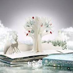 Snowflakes::A Pop-up Book - open page. Written by Jennifer Preston Chushcoff and Illustrated/ Engineered by Yevgeniya Yeretskaya