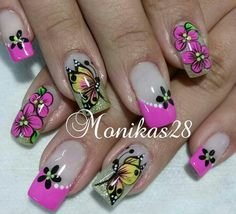 Hermosas Butterfly Nail Designs, Easter Nail Designs, Simple Nail Art Designs, Cute Nail Designs, Cute Nail Art, Beautiful Nail Art, Gorgeous Nails, Cute Nails, Pretty Nails