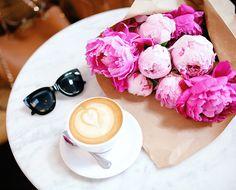 peonies and coffee... love