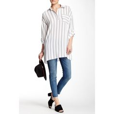 Paper Crane Long Sleeve Side-Button Striped Shirt ($29) ❤ liked on Polyvore featuring tops, whtblk, striped shirt, button up shirts, white striped shirt, white top and long sleeve shirts