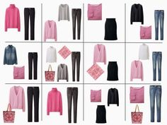 a dozen outfits using a core of navy and grey, with pink accents