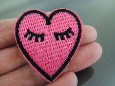 Iron on Patch Heart Patch Pink Heart Love with Eye by Heasundries