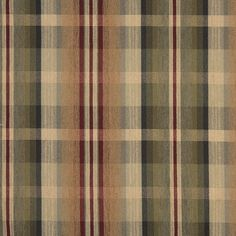 Red And Beige, Plaid Chenille Upholstery Grade Fabric By The Yard