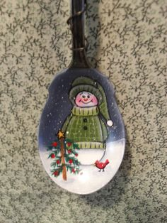 Handpainted Snowman Spoon Ornament by